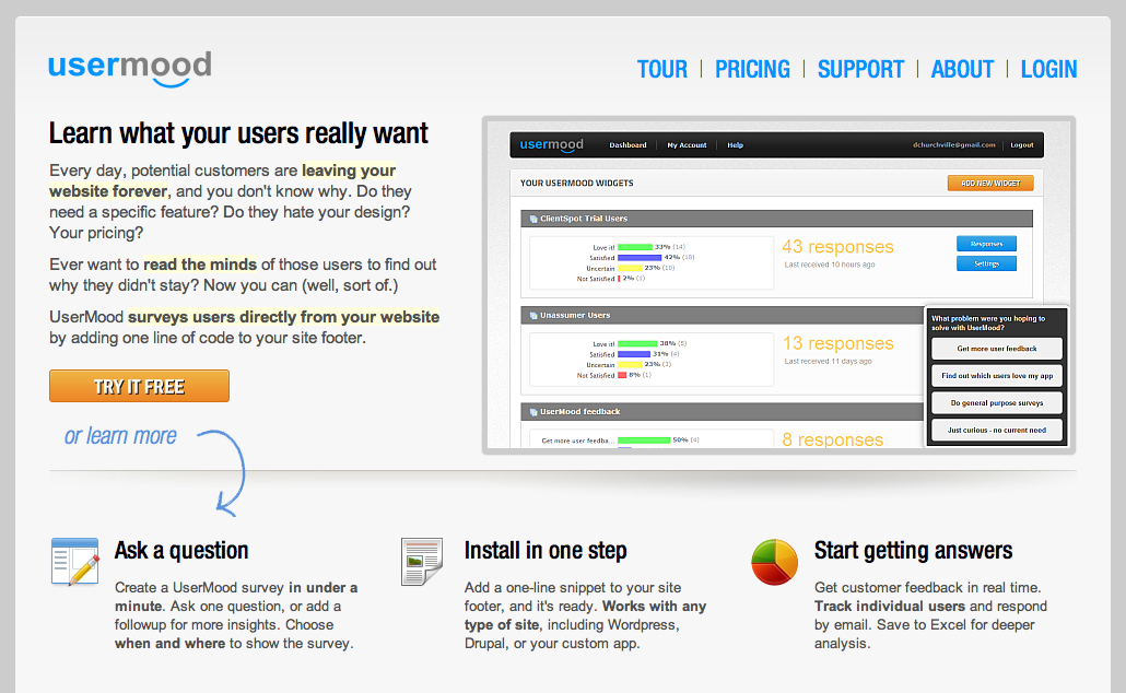 UserMood surveys users directly from your website