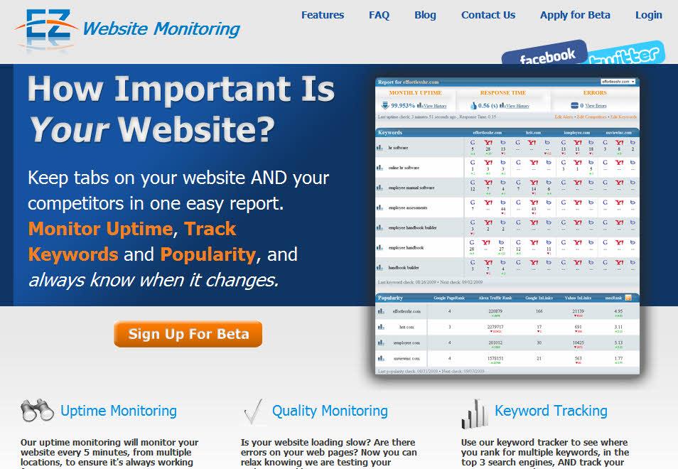 EZ Website Monitoring