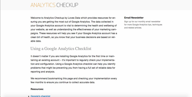Analytics Checkup