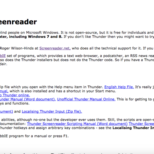 Thunder Screenreader