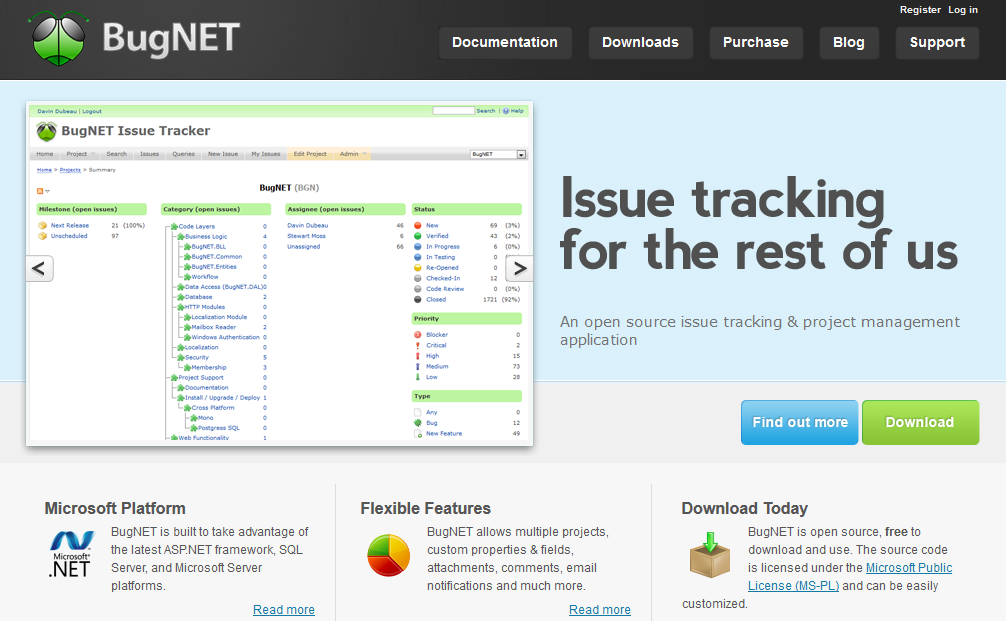BugNET - free open source issue tracking