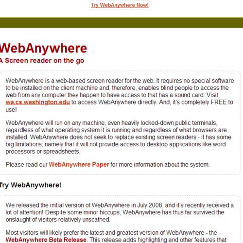 WebAnywhere - web-based screen reader