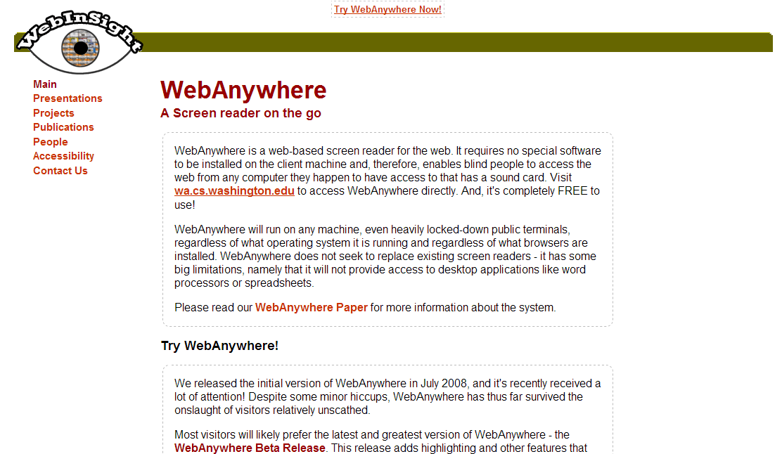 WebAnywhere - web-based screen reader