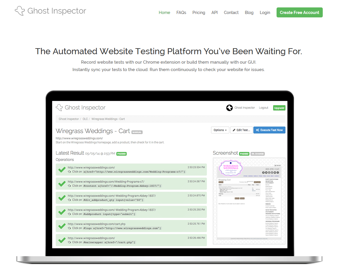 Ghost Inspector - Automated Website Testing Platform