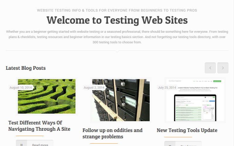 A new look for Testing Web Sites