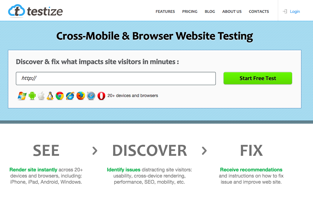 Testize - cCross-Mobile & Browser Website Testing