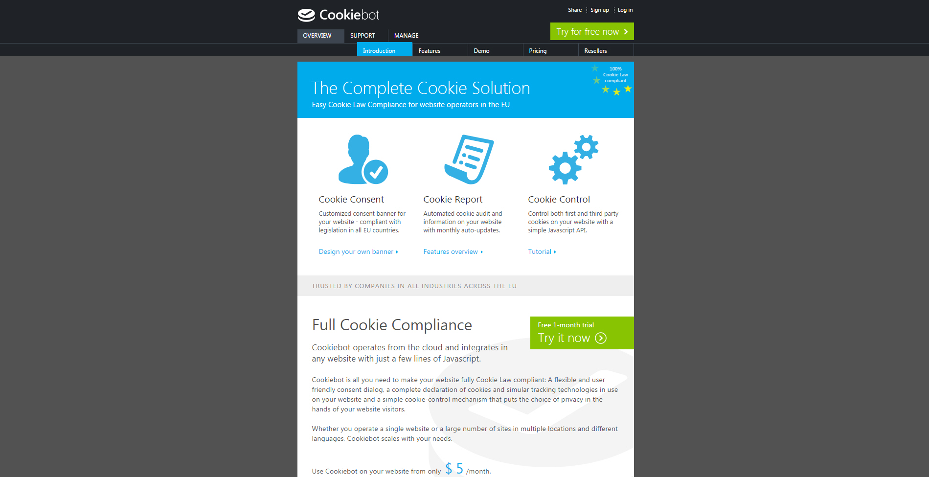 Cookiebot - full cookie compliance