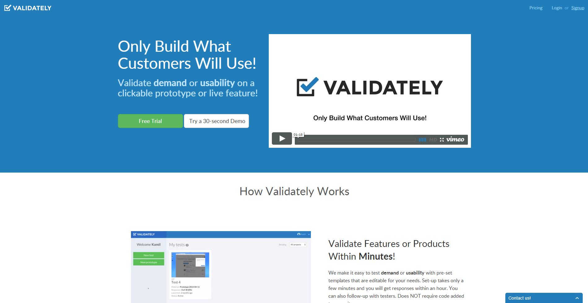 Validately - validate demand or usability