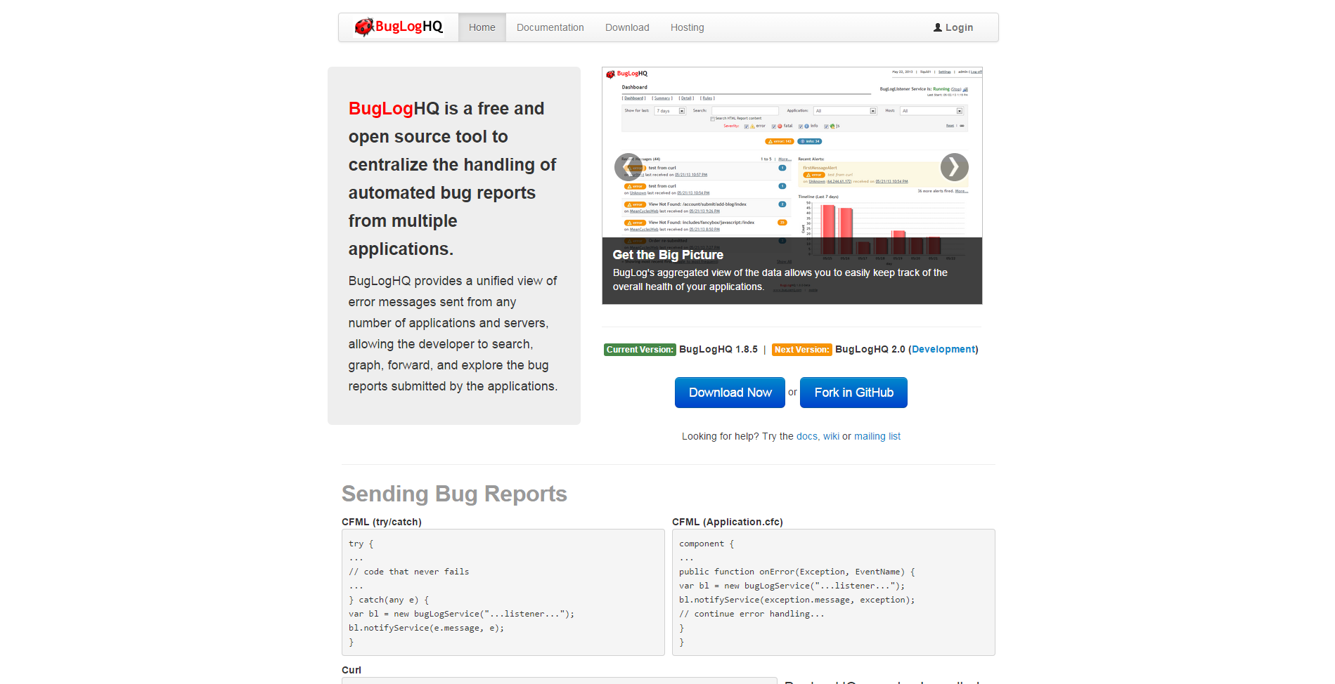 BugLogHQ - centralized automated bug reports