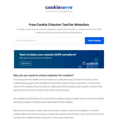 CookieServe - free cookie checker