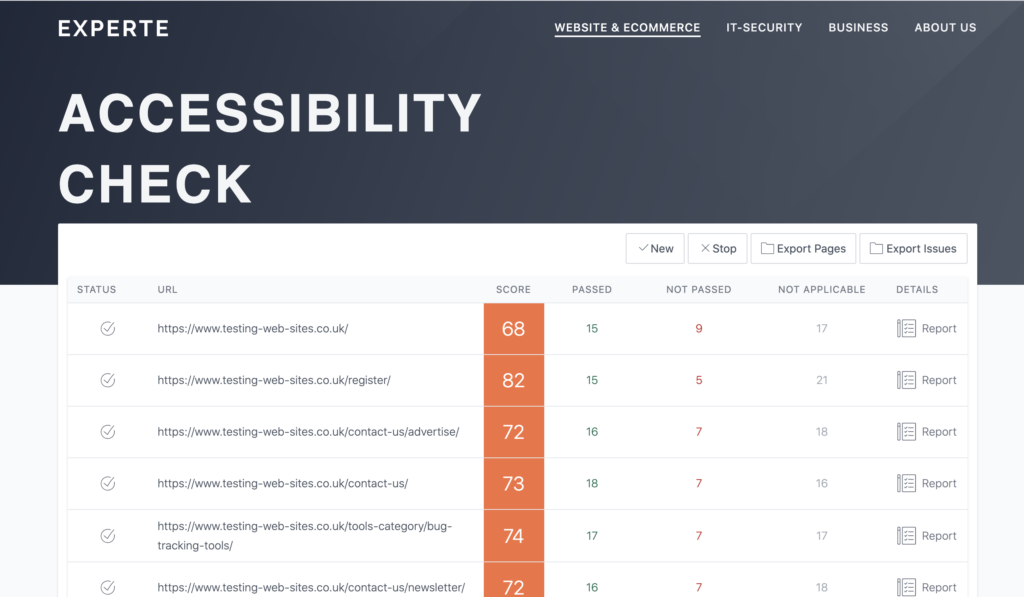 The accessibility results display a score